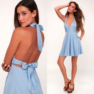 LULUS I'm Smitten Blue Chambray Halter Dress